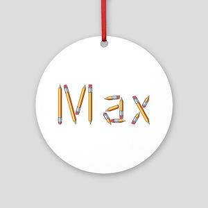 Max Pencils Round Ornament