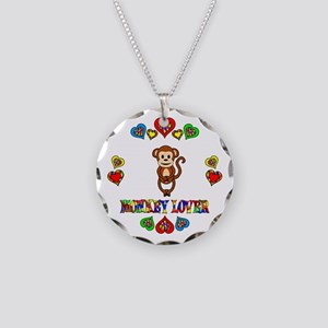Monkey Lover Necklace Circle Charm