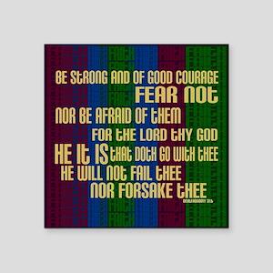 """Deuteronomy 31 6 Faith Stripes Square Sticker 3"""" x"""