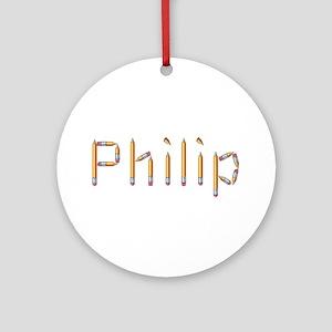 Philip Pencils Round Ornament
