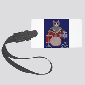 Cat Drummer on Blue Large Luggage Tag