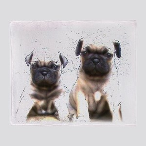 Pug Puppies Throw Blanket