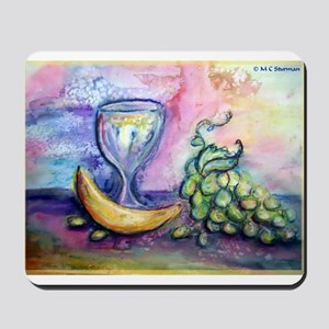 Wine, fruit, colorful art! Mousepad