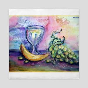 Wine, fruit, colorful art! Queen Duvet