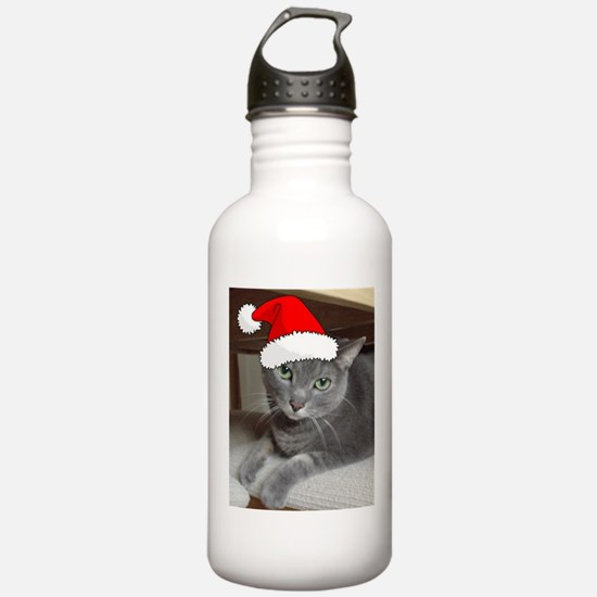 Christmas Russian Blue Cat Water Bottle