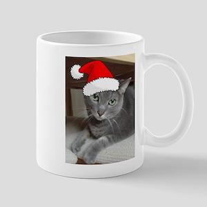 Christmas Russian Blue Cat Mug