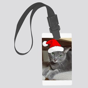 Christmas Russian Blue Cat Large Luggage Tag