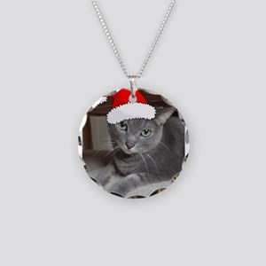 Christmas Russian Blue Cat Necklace Circle Charm