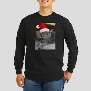 Christmas Russian Blue Cat Long Sleeve Dark T-Shir