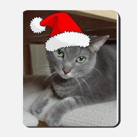 Christmas Russian Blue Cat Mousepad