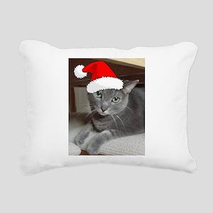 Christmas Russian Blue Cat Rectangular Canvas Pill