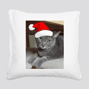 Christmas Russian Blue Cat Square Canvas Pillow