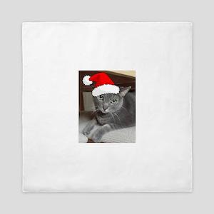 Christmas Russian Blue Cat Queen Duvet
