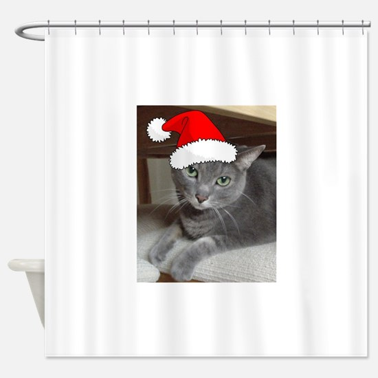 Christmas Russian Blue Cat Shower Curtain