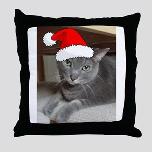Christmas Russian Blue Cat Throw Pillow