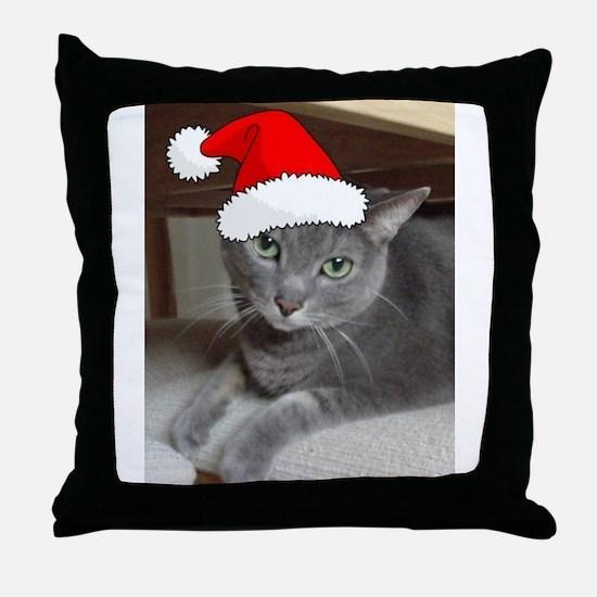 Christmas Russian Blue Cat Throw Pillow