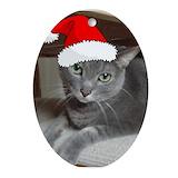 Russian blue cat Oval Ornaments