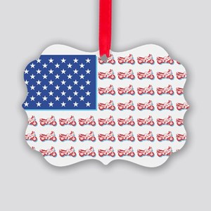 American Flag made of Motorcycles Picture Ornament