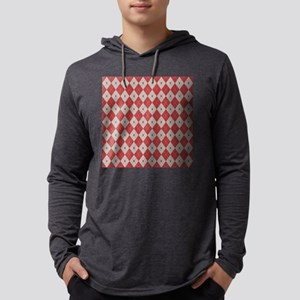 Argyle:  Aurora Red and Aluminum Mens Hooded Shirt