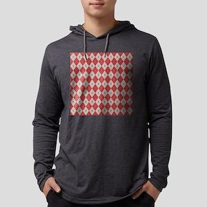 Argyle:  Aurora Red and Aluminum Mens Hooded Shirt