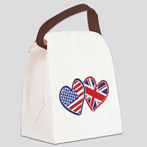 USA and UK Flag Hearts Canvas Lunch Bag