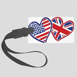 USA and UK Flag Hearts Large Luggage Tag