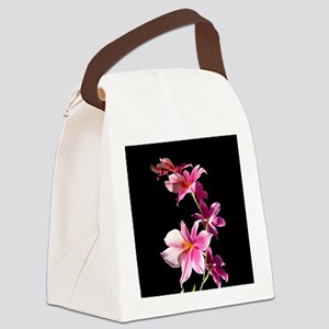 Pink Flowers. Orchid. Canvas Lunch Bag