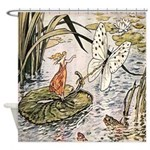 Vintage Woman Butterfly Lilly Shower Curtain