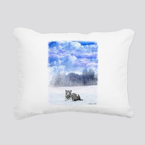 Whiter tiger in the snow Rectangular Canvas Pillow