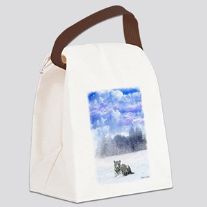 Whiter tiger in the snow Canvas Lunch Bag
