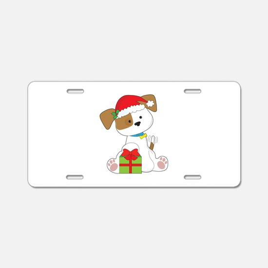 Christmas Puppy Aluminum License Plate