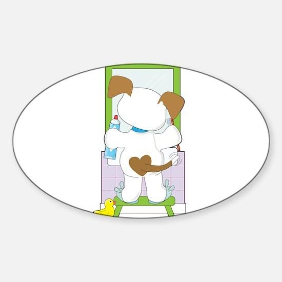 Cute Puppy Bathroom Sticker (Oval)