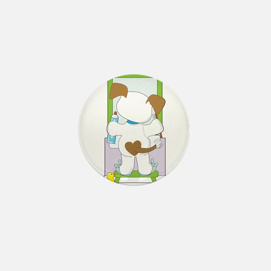 Cute Puppy Bathroom Mini Button
