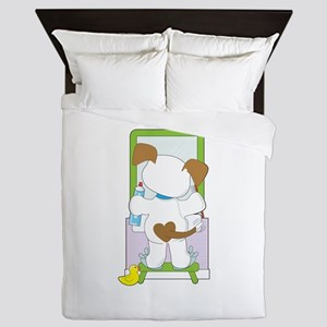 Cute Puppy Bathroom Queen Duvet