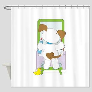 Cute Puppy Bathroom Shower Curtain