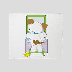 Cute Puppy Bathroom Throw Blanket