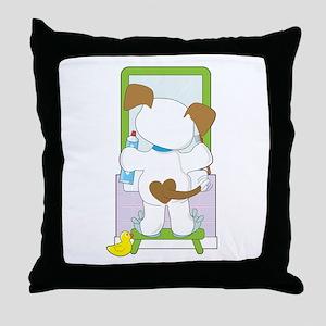 Cute Puppy Bathroom Throw Pillow