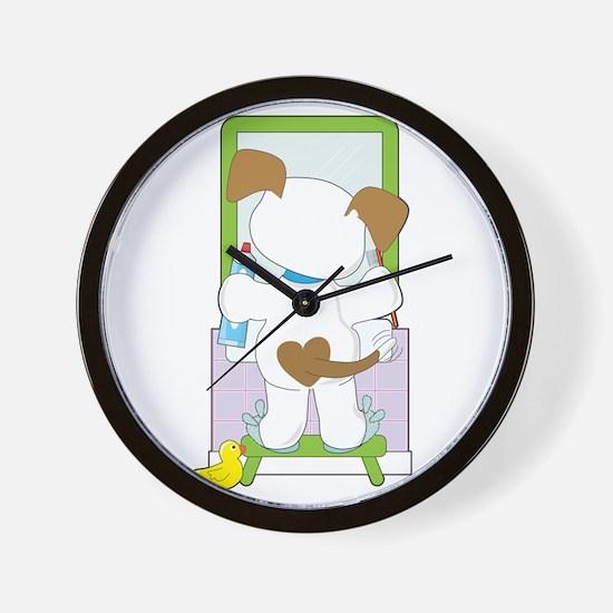 Cute Puppy Bathroom Wall Clock