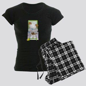 Cute Puppy Bathroom Women's Dark Pajamas