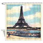 Vintage Eiffel Tower Boat Shower Curtain