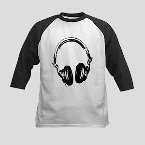 Dj Headphones Stencil Style T Shirt Kids Baseball