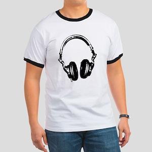 Dj Headphones Stencil Style T Shirt Ringer T