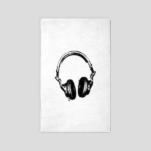 Dj Headphones Stencil Style T Shirt 3'x5' Area Rug