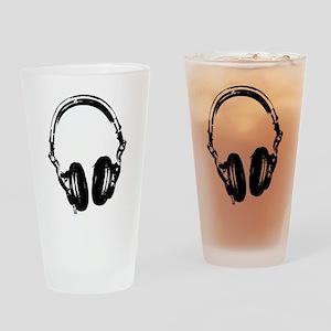 Dj Headphones Stencil Style T Shirt Drinking Glass