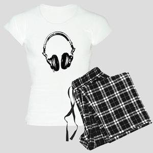 Dj Headphones Stencil Style T Shirt Women's Light