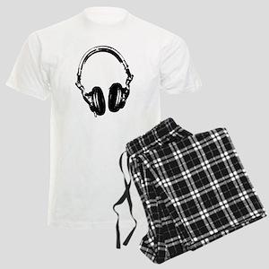 Dj Headphones Stencil Style T Shirt Men's Light Pa