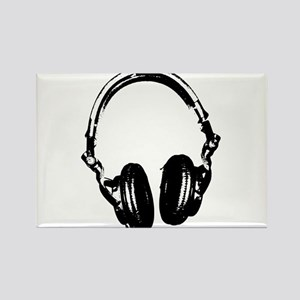 Dj Headphones Stencil Style T Shirt Rectangle Magn
