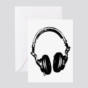 Dj Headphones Stencil Style T Shirt Greeting Card