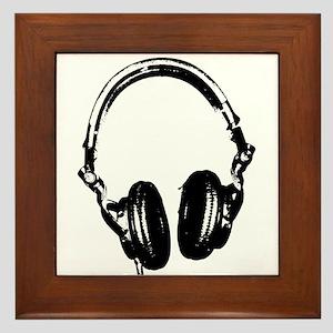 Dj Headphones Stencil Style T Shirt Framed Tile