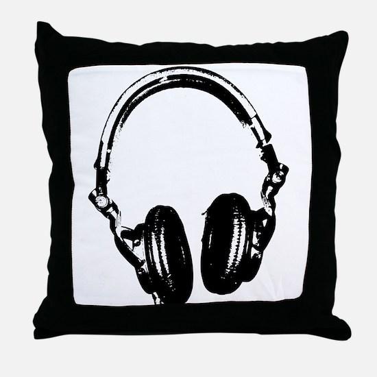 Dj Headphones Stencil Style T Shirt Throw Pillow